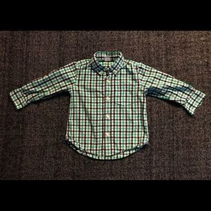 4 for $20 Gap button down green checked 2T